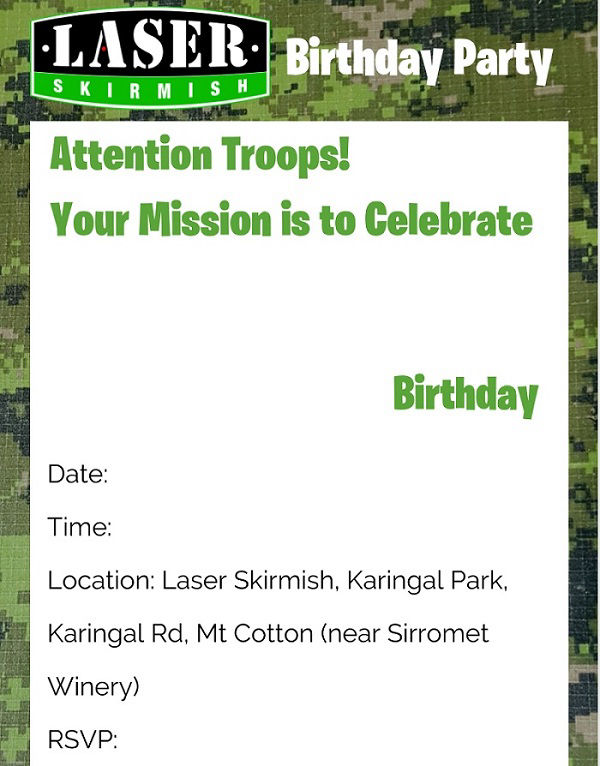 laser skirmish party invite